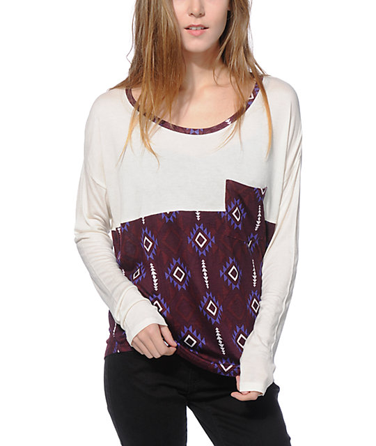 Empyre Corey Burgundy Tribal Dolman Top