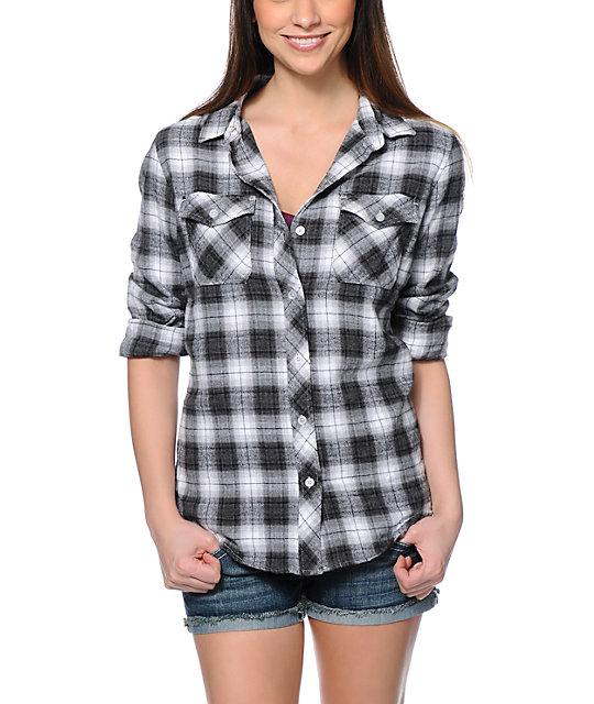 empyre cortland black grey boyfriend fit flannel shirt