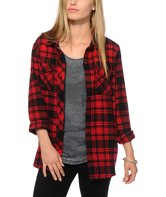 empyre cortland red black boyfriend fit flannel