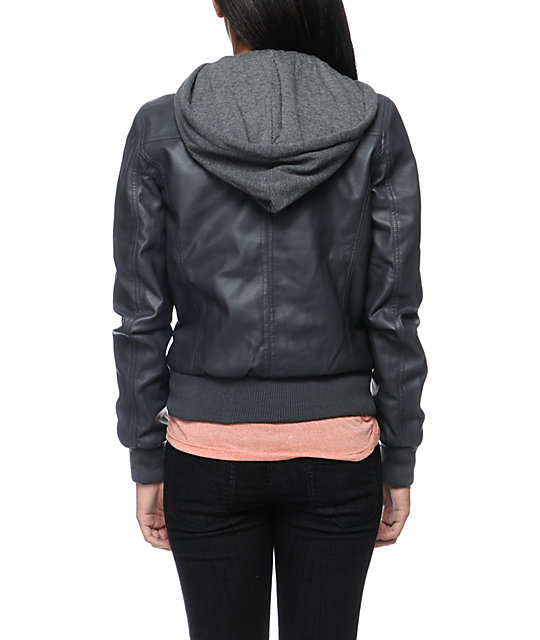 Empyre Coven Charcoal Hooded Bomber Jacket