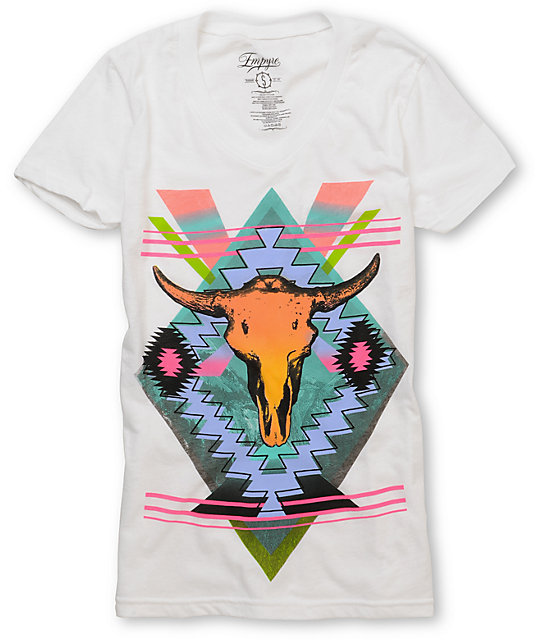Empyre Cow Spirit White V-Neck T-Shirt