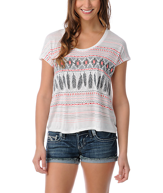 Empyre Cream & Coral Hatfield Native Feather T-Shirt