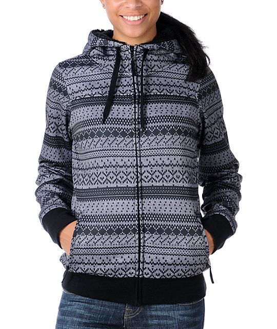 Empyre Crevasse Black & Grey Fair Isle Tech Fleece Jacket