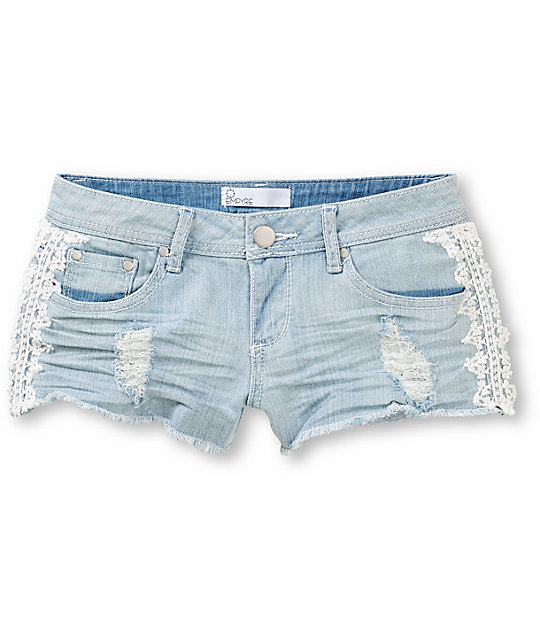 Empyre Crochet Side Light Wash Denim Shorts
