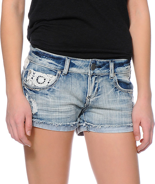 Empyre Crochet Yoke Blue Denim Shorts