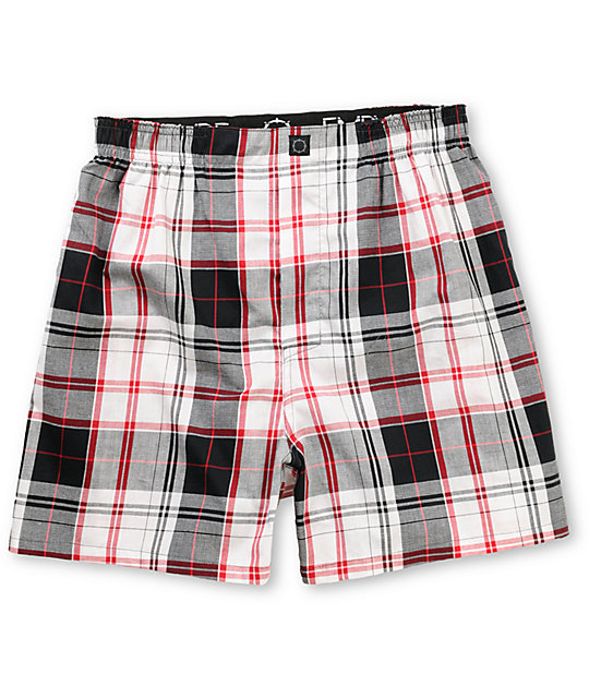 Empyre Crush White, Black, & Red Plaid Boxers