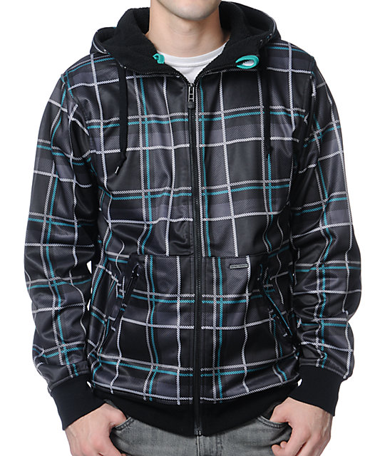 Empyre Decade Black & Teal Plaid Zip Up Tech Fleece Jacket