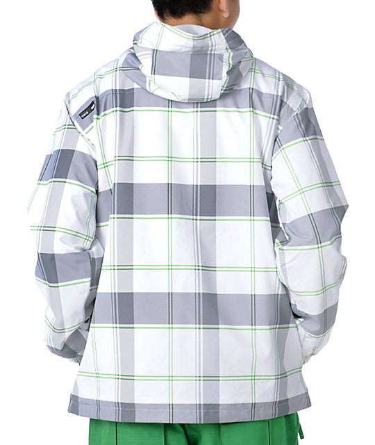 Empyre Decender White Plaid Mens 10K Snowboard Jacket