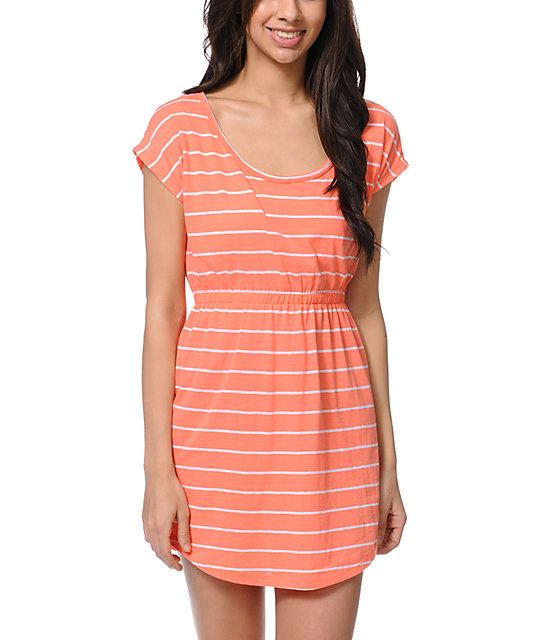 Empyre Deep Back Coral & White Stripe Dress
