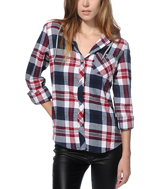 Empyre delancy burgundy navy hooded flannel shirt zumiez for Girl in flannel shirt