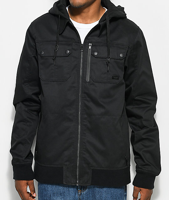 Empyre Derail Black Twill Hooded Jacket | Zumiez