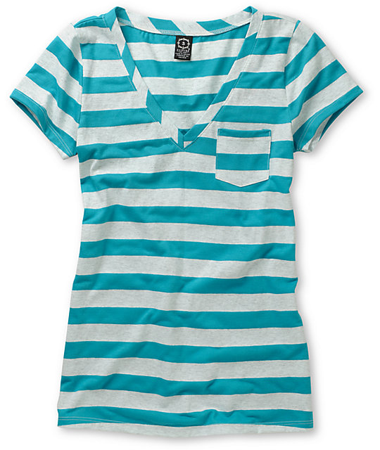 Empyre Diabolique Oatmeal & Blue Striped T-Shirt