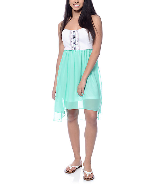 White and mint dress.