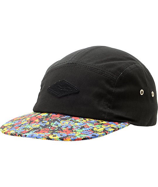 Empyre Ditz Black & Floral Print 5 Panel Hat