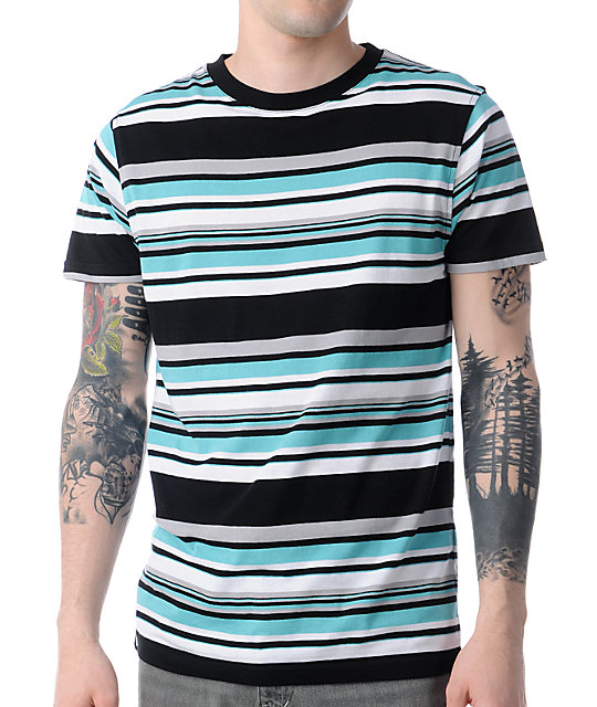 Empyre Divert Black, White, & Teal Striped T-Shirt