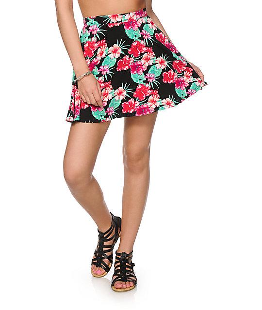 Empyre Dixie Hawaiian Floral Skate Skirt