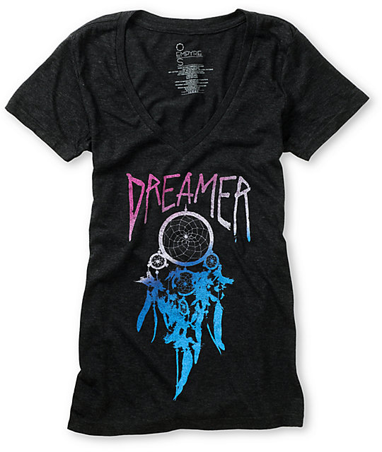 Empyre Dreamer Charcoal V-Neck T-Shirt