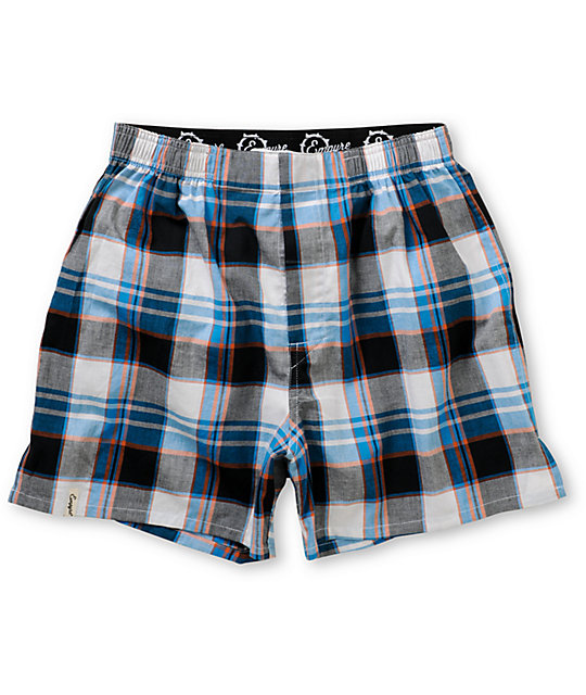 Empyre Drop It Blue, Orange & White Plaid Boxers