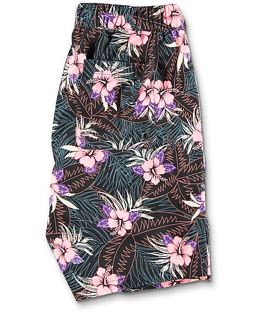Empyre Dubtub Dark Floral Elastic Waist Board Shorts