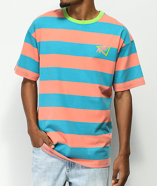 Empyre Dude Pink &Amp; Blue Striped T Shirt by Empyre