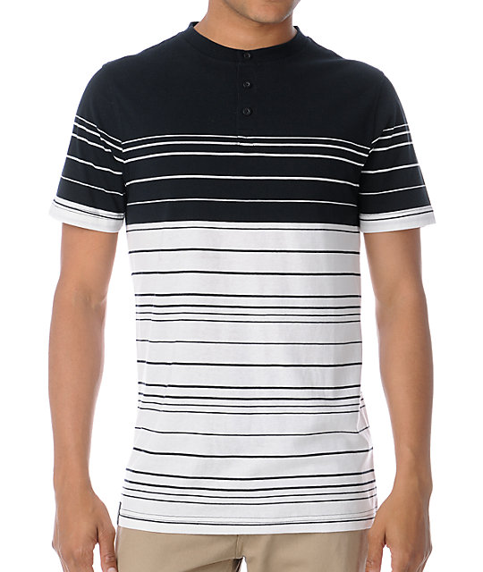Empyre Duke Black & White Stripe Henley T-Shirt