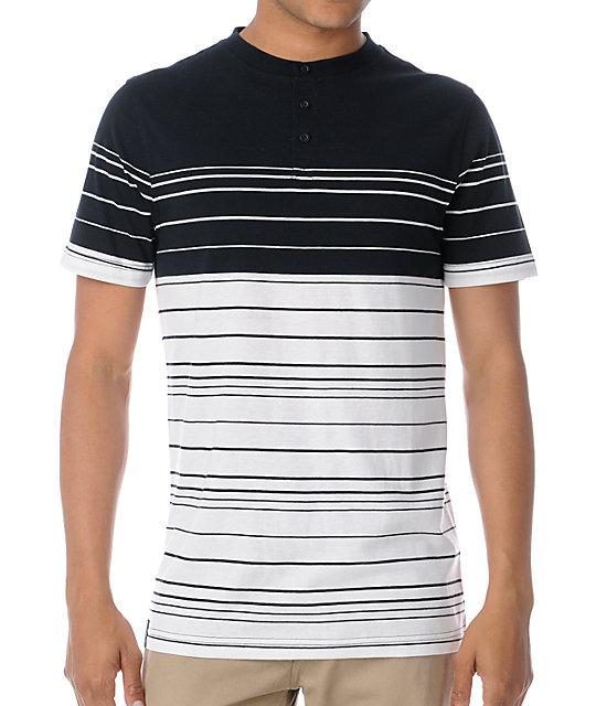 Empyre Duke Black & White Stripe Henley T-Shirt