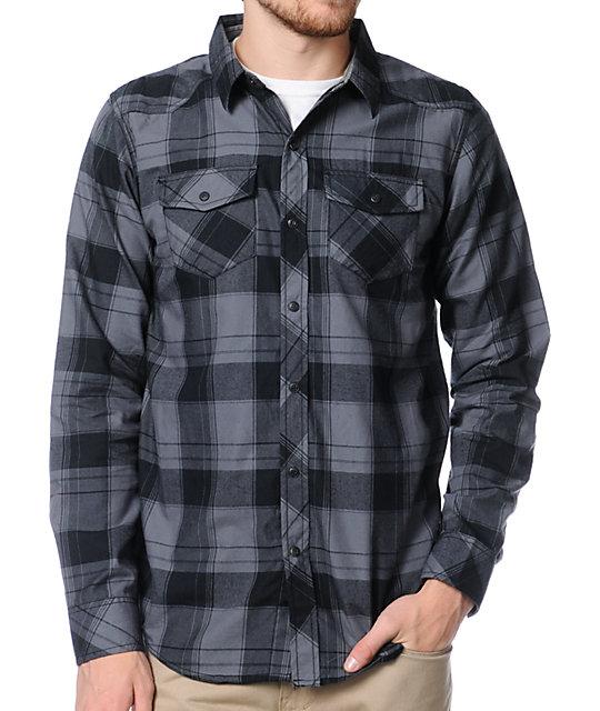 Empyre Dusk Black & Grey Plaid Button Up Shirt