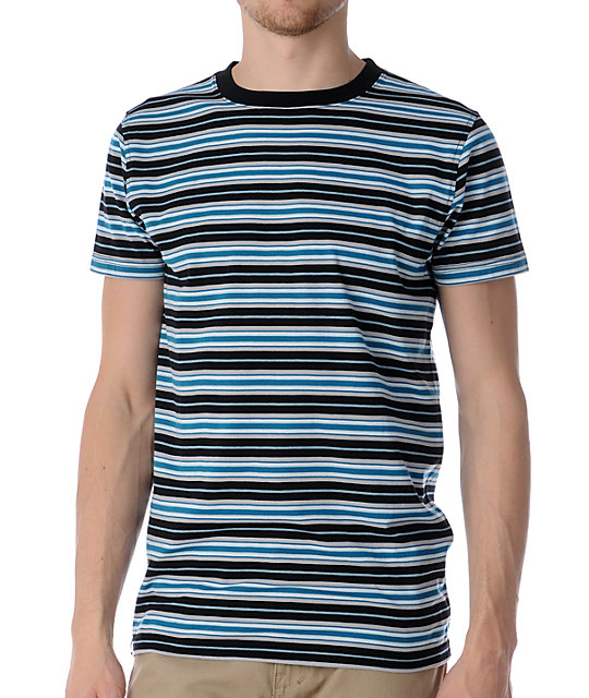Empyre Dweller Black & Turquoise Striped Knit T-Shirt