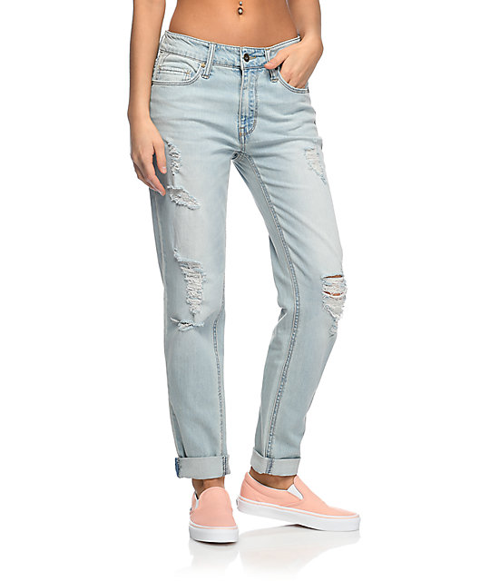 Easton Destroyed Boyfriend Light Wash Jeans