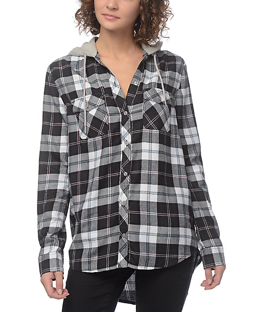 Empyre eddy black white hooded flannel for White and black flannel shirt womens