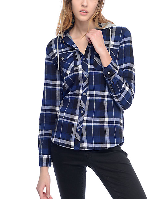 Empyre Eddy Navy & Black Hooded Flannel