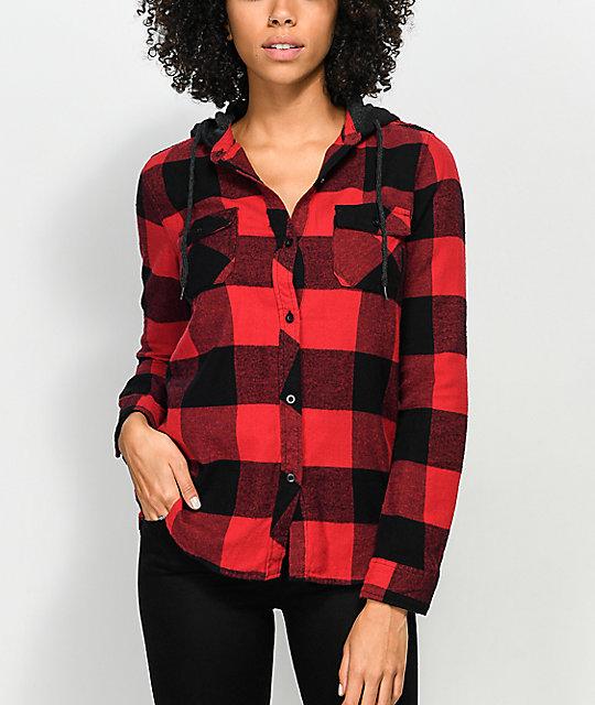 Empyre Eddy Red Black Buffalo Plaid Hooded Flannel Shirt