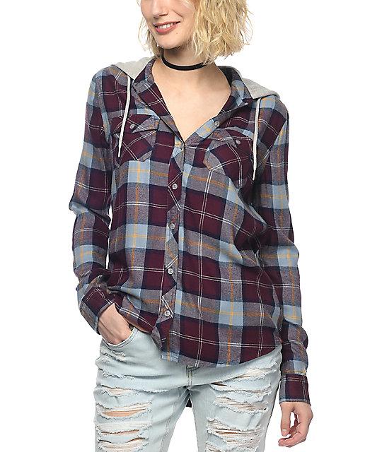 Empyre Eddy camisa de franela con capucha en colores vino, azul y mostaza