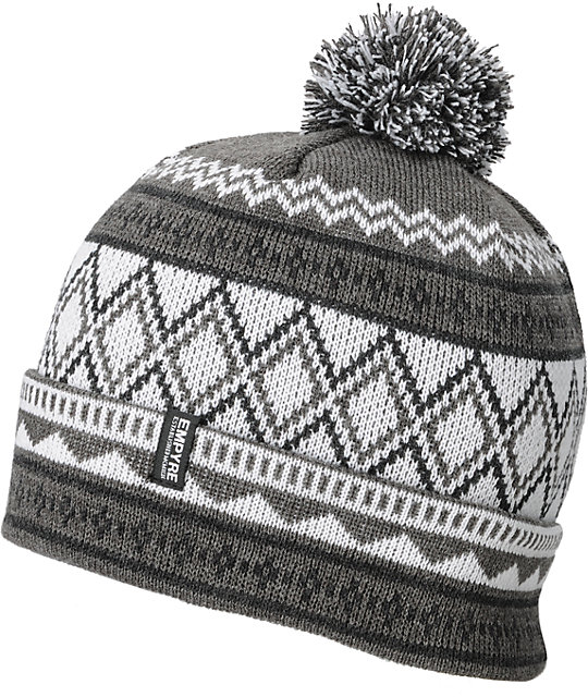 Empyre Einstein Pom Grey, White & Black Beanie