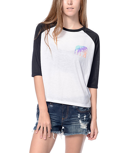 Empyre Elephant Babe Black & White Crop Baseball T-Shirt