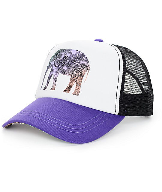 Empyre Elephant Floral Dark Purple Trucker Hat