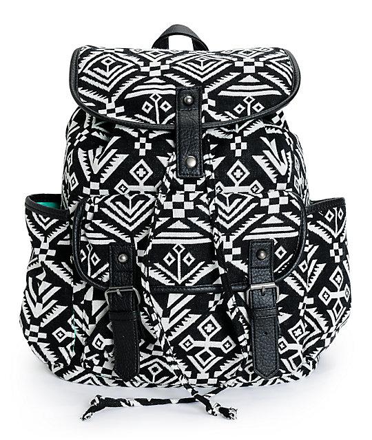 Empyre Emily Black & White Tribal Rucksack Backpack