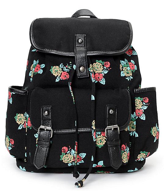 Empyre Emily Floral Print Black Rucksack Backpack