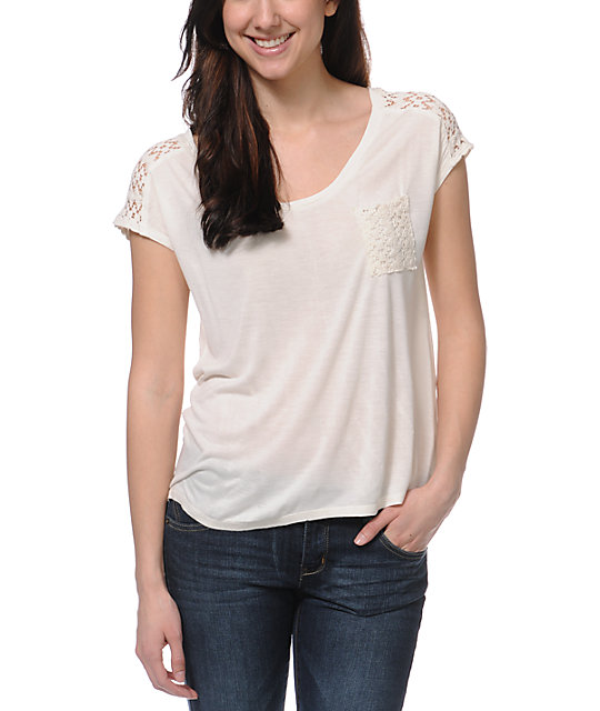 Empyre Emmi Natural Crochet Pocket T-Shirt