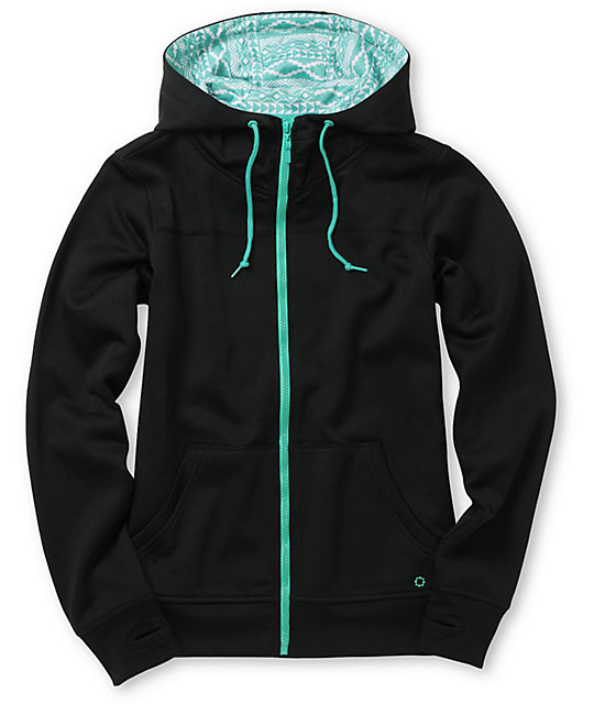 Empyre Essential Black & Green Full Zip Tech Fleece Jacket
