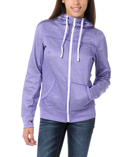 Empyre Essential Heather Purple Full Zip Tech Fleece Jacket