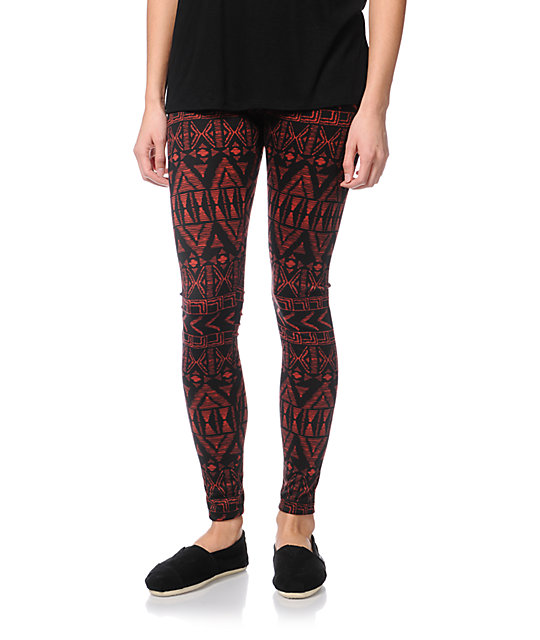 Empyre Ethnic Brick Red Print Leggings