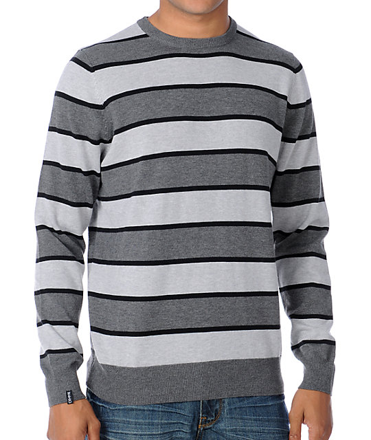 Empyre Exit Here Grey Striped Crew Neck Sweater