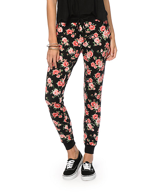 Simple  Floral French Terry Womens Jogger Pants 263819149  Pants Amp Joggers