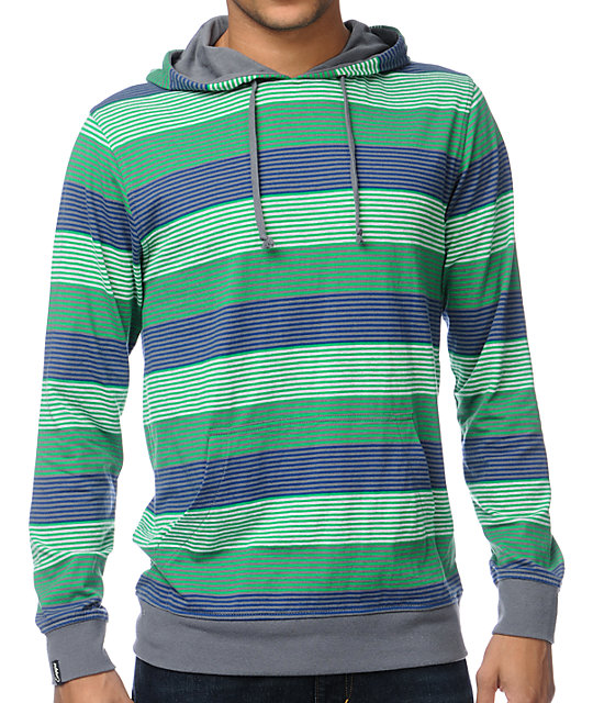 Empyre Fan Green Stripe Hooded Knit Shirt
