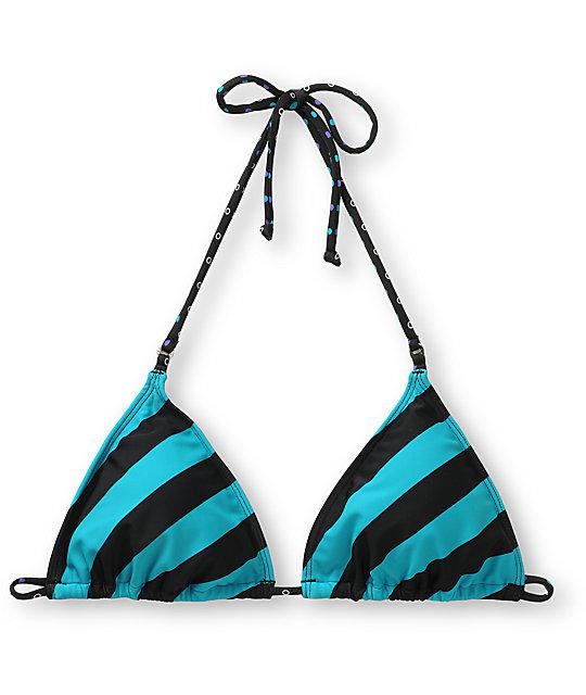Empyre Fascia Teal Striped Bikini Top