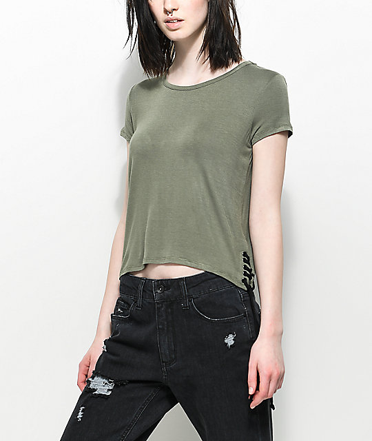 Empyre Fawna Tie Side Olive T-Shirt