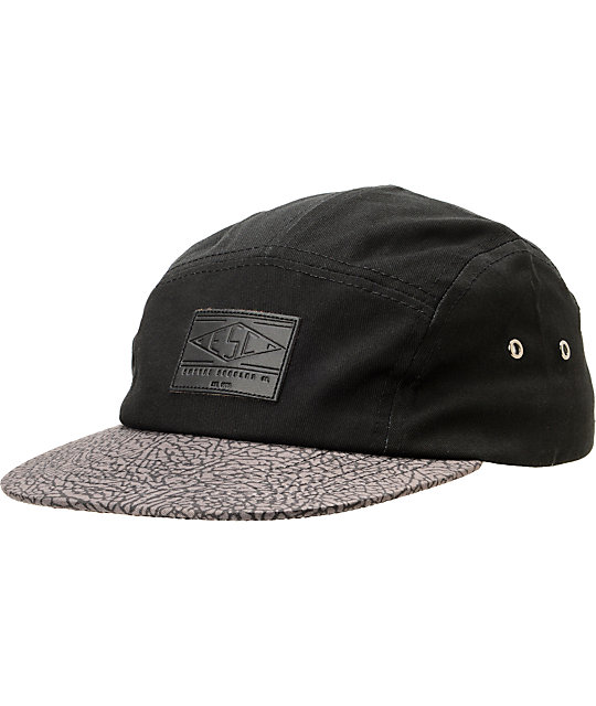 Empyre Fine Shrine Black & Crackle Print 5 Panel Hat