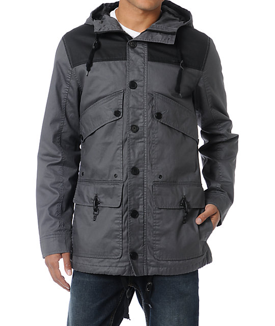 Empyre Firing Line Charcoal & Black Canvas Parka Jacket