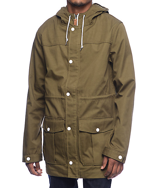 Empyre Fission Green & White Hooded Twill Jacket | Zumiez
